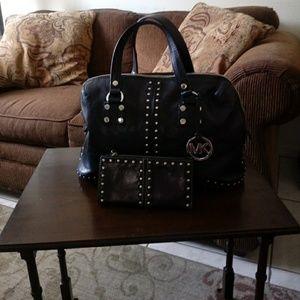 Michael Kors Black Studded Leather Bag /Wallet